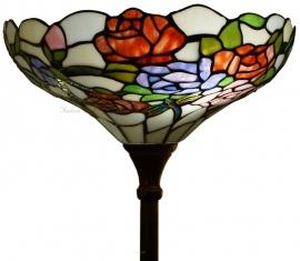 5766 Vloerlamp Uplicht H180cm met Tiffany kap Ø40cm  Rosa