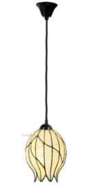 8175 Hanglamp Textielsnoer Zwart met Tiffany kap Ø22cm Nature