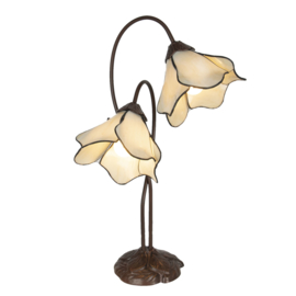 6048 Bureaulamp Tafellamp Tiffany H57cm Wit Flower