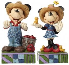 MICKEY & MINNIE Farmers H15cm Set van 2 Jim Shore beelden 4049635  636