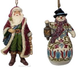 """""""Victorian Santa & Snowman""""Set van 2 Hanging ornament Jim Shore 6001432  6001433"""