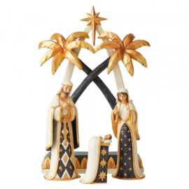 """Black & Gold "" Nativity Set 4-delig  H27cm Jim Shore 6004196"