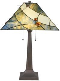 7989 Tafellamp H75cm met Tiffany kap 44x44cm Sky Blue