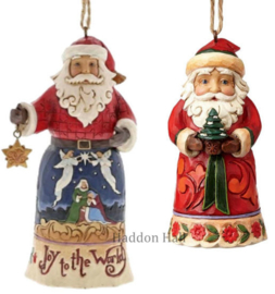 Set van 2 Hanging ornament  Joy to the World - Santa Holding Tree