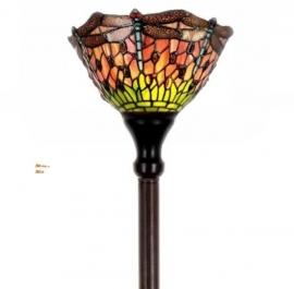8827 Vloerlamp H175cm met Tiffany kap Ø25cm Red Green Dragonfly