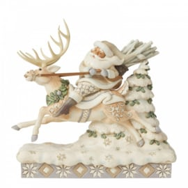 On Course For Christmas B21cm Santa Riding Reindeer Jim Shore 6006579
