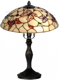 5436 9034 Tafellamp Tiffany H37cm Ø30cm Pink Butterfly