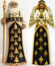 """Black & Gold Santa & Angel"" Set van 2 Jim Shore beelden"