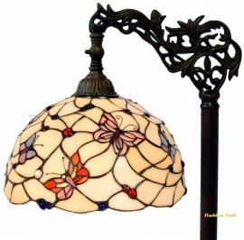 770 9458 Vloerlamp H164cm met Tiffany kap Ø30cm Pink Butterfly