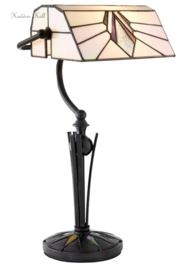 T026 Bureaulamp Bankierslamp H42cm met Tiffany kap Astoria