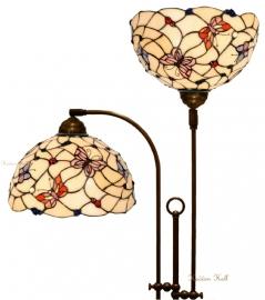770 Vloerlamp Half Rond met 2 Tiffany kappen Ø30cm Pink Butterfly