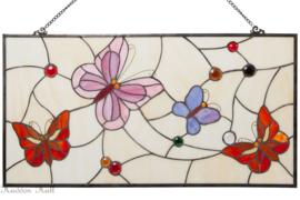 5866 Voorzetraam Tiffany 40x80cm Pink Butterfly