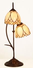 5602 Tafellamp H61cm met 2 Tiffany kappen Ø15cm Lelie