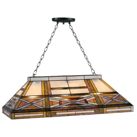 5471 Hanglamp Tiffany B92cm   Biljart model Art Deco motief
