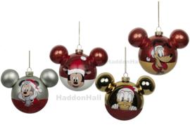 Set van 4 Disney Kerstballen - Ø6cm - Glas
