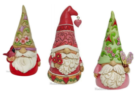 Gnomes Set van 3 - Red Bird - Heart & Butterfly - H13,5cm - Jim Shore