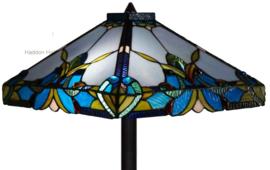 141352 Vloerlamp H164cm met Tiffany kap 36x36cm Blue Drop