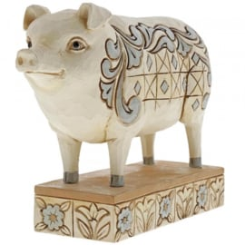 """Hog Wild"" White Farmhouse Pig H11cm Jim Shore 6003634"