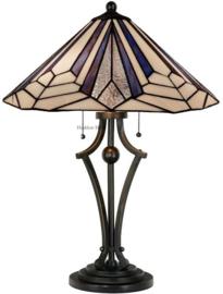 7874 Tafellamp H60cm met Tiffany kap Ø45cm Astoria Blue