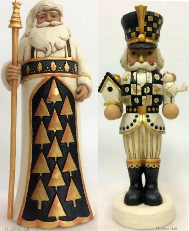 """Black & Gold Santa & Nutcracker"" H27cm Set van 2 Jim Shore beelden"