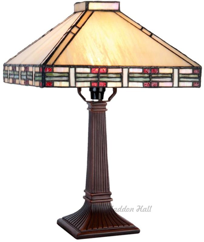 5839 Tafellamp Tiffany H39cm 25x25cm Rietveld