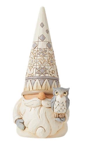 White Woodland Gnome with Owl H20,5cm Jim Shore 6008864