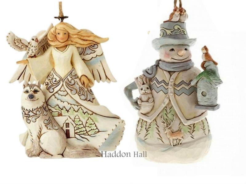 """White Woodland Angel & Snowman"" H11cm Set van 2 Jim Shore Hanging Ornament"