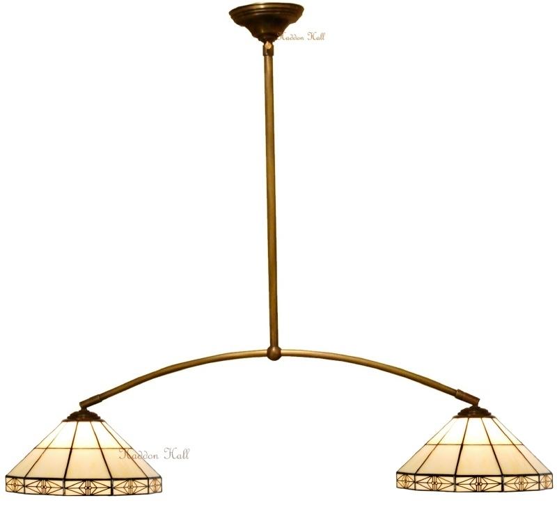 3087 973 Hanglamp met 2 Tiffany kappen Ø32cm Serenity
