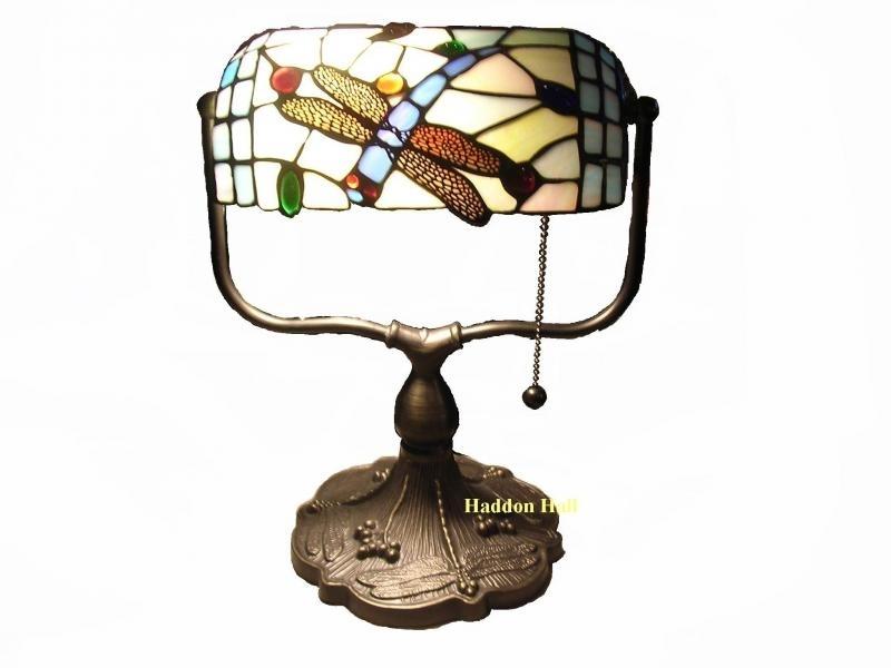 1144 Tiffany bankierslamp  H35cm B27cm Blue Dragonfly burolamp bureaulamp