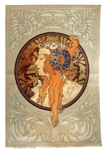 "Alphonse Mucha  ""The Blonde""140x 90cm Wandkleed   Gobelin geweven"