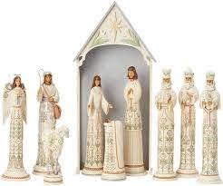 Kerststal Kerstgroep  White Woodland Nativity  10-delig Jim Shore 6004200 gesigneerd