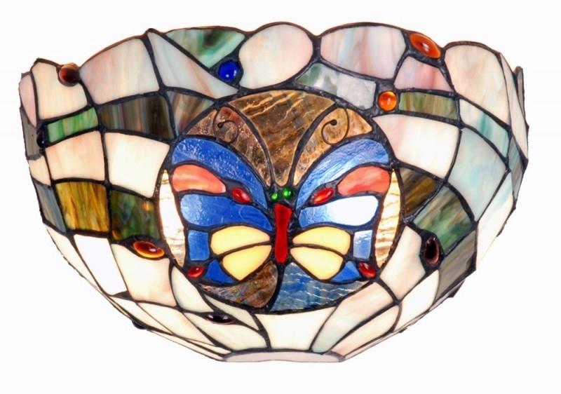 9957 Wandlamp Tiffany schelpmodel met Vlinder