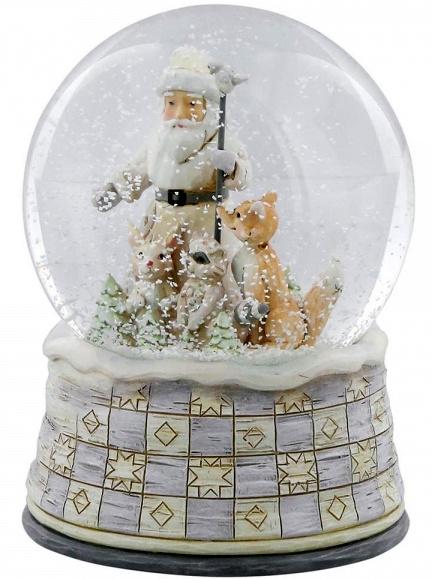 White Woodland Santa Waterball  H 13,5 cm Jim Shore 4058740 uit 2017