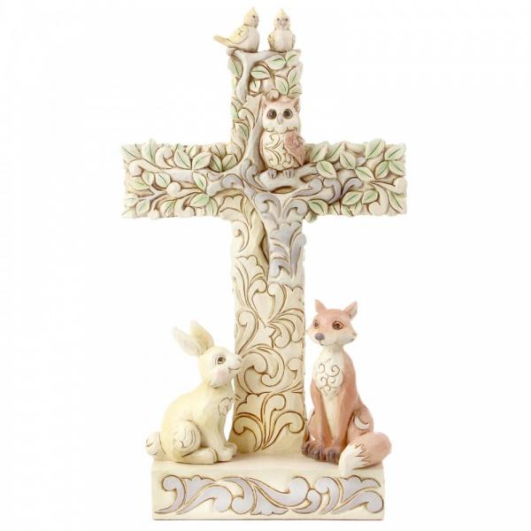 White Woodland Cross Figurine H18,5cm Jim Shore 6006236