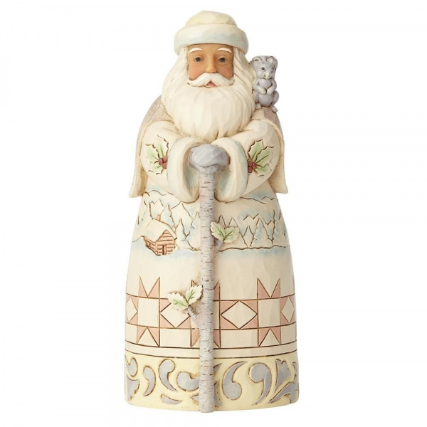 "White Woodland Santa H15cm ""Winter Adventures.."" Jim Shore 6001415"