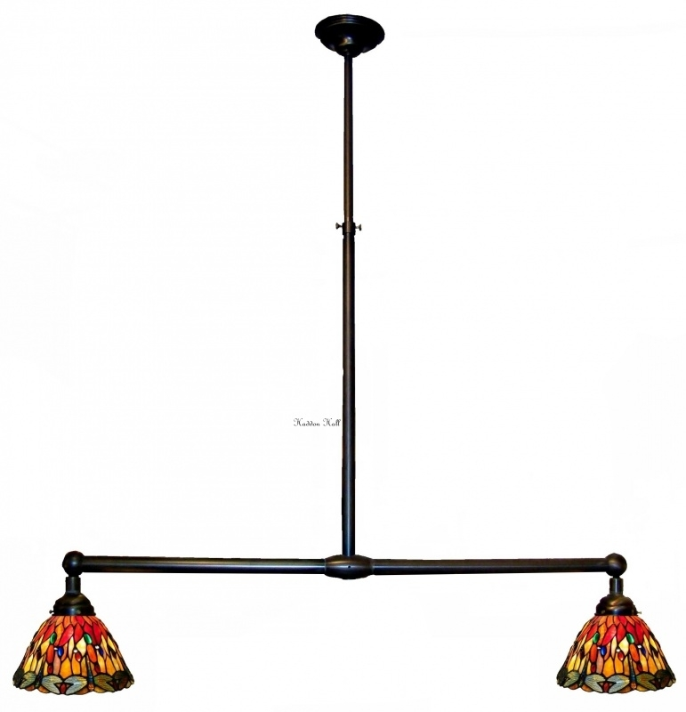 7808  3090 Hanglamp B90cm met 2 Tiffany kapjes Ø25cm Red Glass Dragonfly