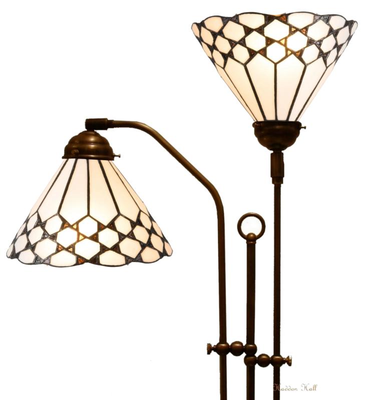 5893 Vloerlamp Haaks met 2 Tiffany kappen Ø25cm Wilson