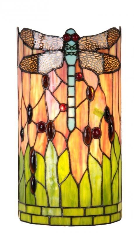 9292 Wandlamp Tiffany  H35cm B17cm Cilinder model Red Green Dragonfly