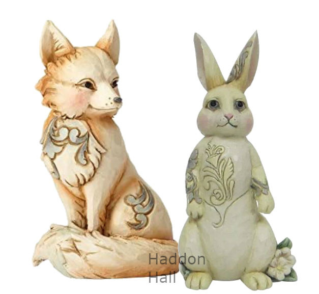 White Woodland Set van 5 Fox & Bunny Jim Shore