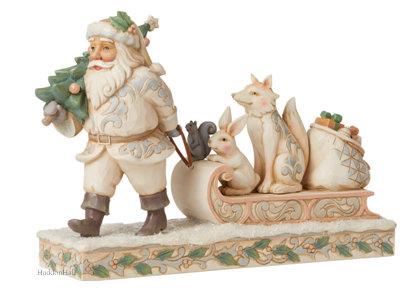 White Woodland Santa Pulling Sled with Animals H17,5cm Jim Shore 6008861