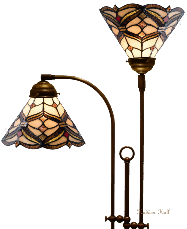 5901 Vloerlamp met 2 Tiffany kappen Ø25cm Lancaster