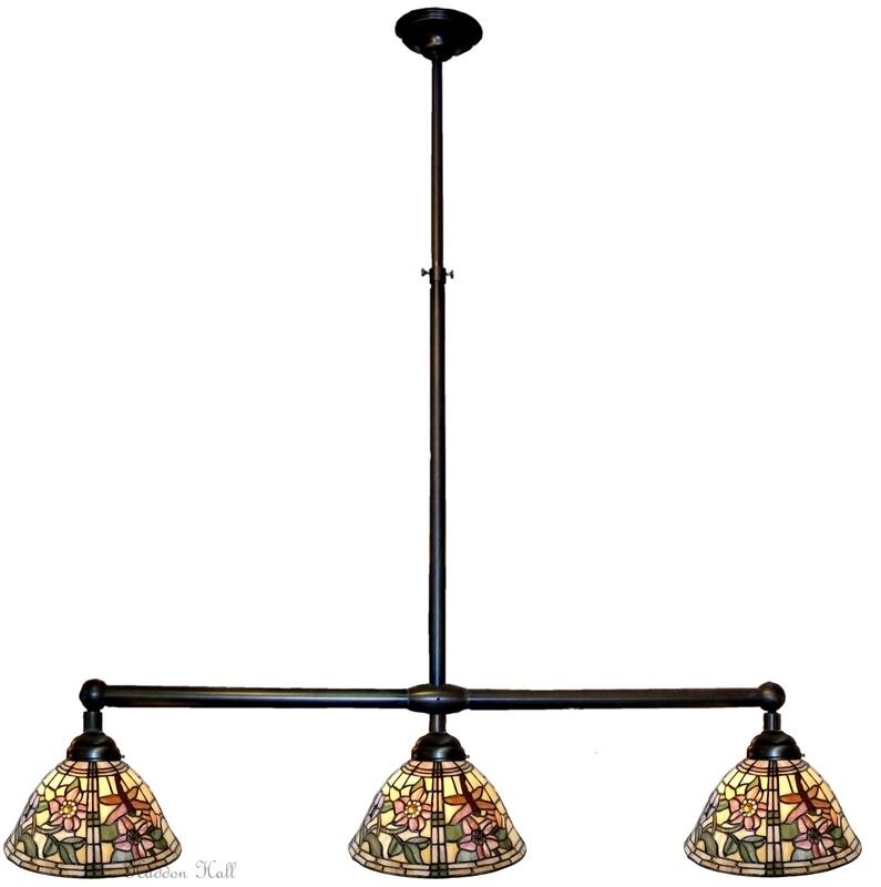 9111 Hanglamp B90cm met 3 Tiffany kappen Ø26cm  Garden Dragonfly
