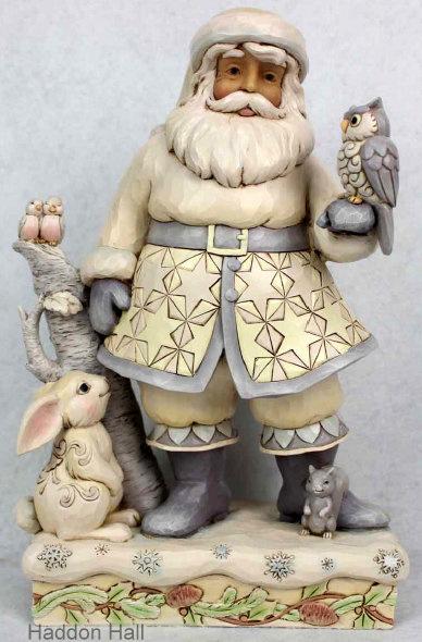 """Woodland Santa with Animals"" H25,5cm Jim Shore 6001407 kerstman White Woodland"