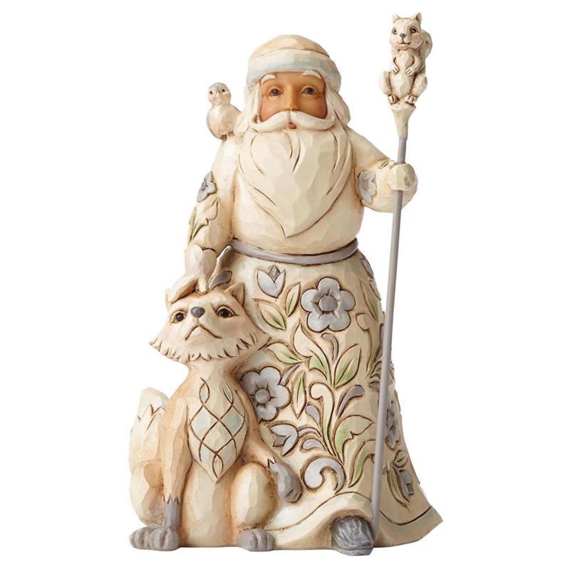 Gracious Giving to All H13cm Jim Shore White Woodland Santa 4053692 Kerstman