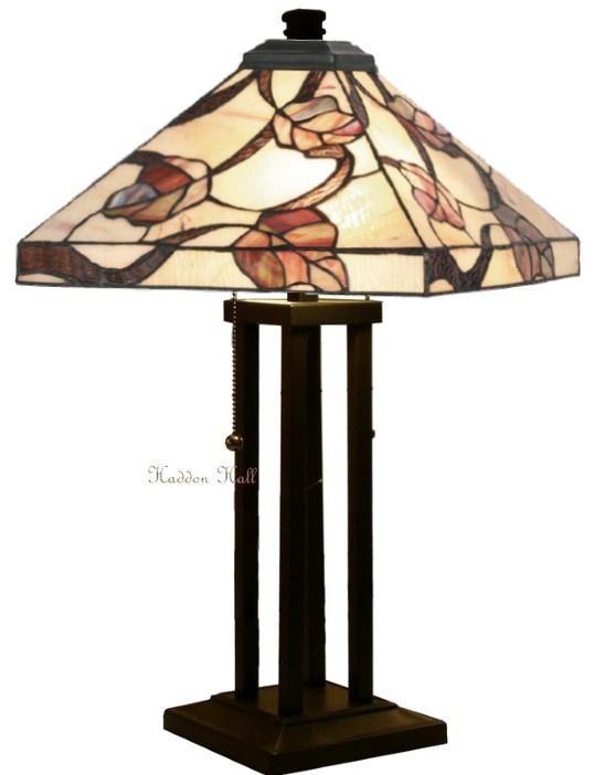 Y14204 Tafellamp Tiffany H60cm 36x36cm Purple Leaves