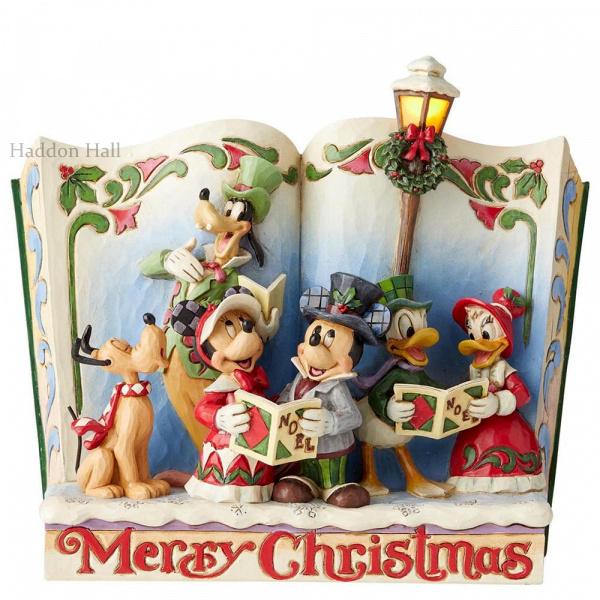"Mickey Minnie Pluto Goffy Donald & Daisy ""Merry Christmas"" Storybook Jim Shore 6002840"