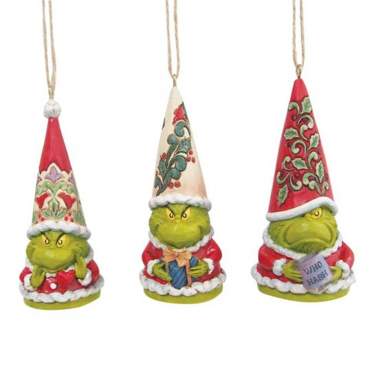 Grinch Gnome - Set van 3 Hanging ornament - Jim Shore  6009537