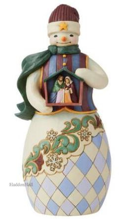 """""""Embrace the Merry Miracle"""" Snowman Holding Nativity H25cm Jim Shore 6009402"""