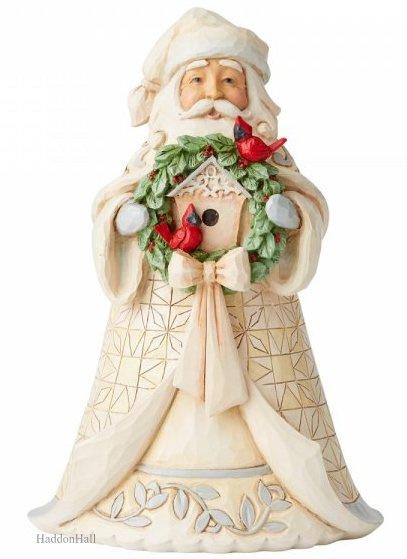 White Woodland Santa with Wreath H18cm Jim Shore 6005914