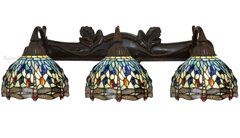 "9891 1125 Wandlamp B70cm met 3 Tiffany kappen Ø20cm ""Blue Dragonfly"""